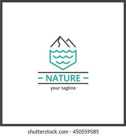 Nature mountain sea logo. Minimal clean line vector icon.