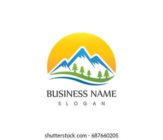 Nature Mountain And Sun Logo Design Template