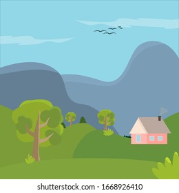 nature, mountains and home. Summer background.