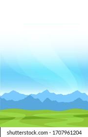 Landschaft der Naturgebirge mit grünem Gras und Clean Sky - Vertikale Bildschirmhintergrund mit Platz zum Kopieren. Banner für Travel Tour oder Alps Milk Farm Unternehmen.