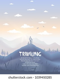 Nature mountains with traveler and dog. Beautiful view on landscape. Vector illustration