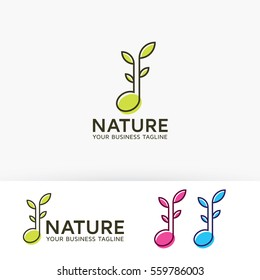 Nature Music, leaf, therapy, peace, natural. Vector logo template