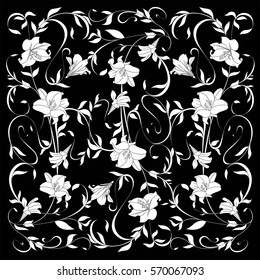 Nature ornamental vector flowers, leaves pattern