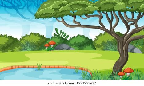 Nature outdoor forest background illustration
