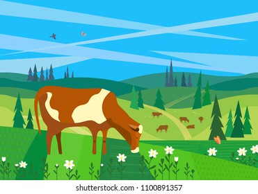 Nature outdoor landscape. Colorful cartoon. Farming herd of brown cows on meadow. Valley scene view. Domestic cattle mammal grazing green grass hill, field in forest. Vector countryside background