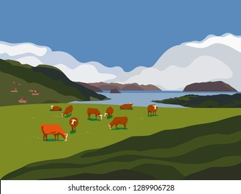 Nature outdoor valley landscape. Colorful cartoon. Farming herd of brown cows on meadow. Rural community scene view. Domestic cattle mammal on green grass hill, field. Vector countryside background