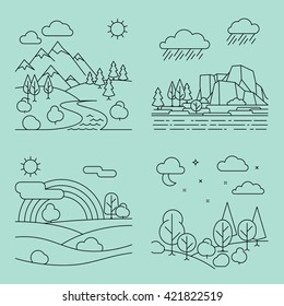 Nature outline landscapes with mountains fields and river. Vector illustration