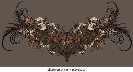 nature patterns with skull and wings with white flowers