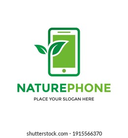 Nature phone vector logo template. This design use mobile device and leaf symbol. Suitable for technology and environment.