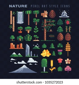 Nature pixel art 80s style icons set mountain tree leaf flower spruce bamboo lotus isolated vector illustration. Game assets. Element design for stickers, embroidery, mobile app. 8-bit sprite.