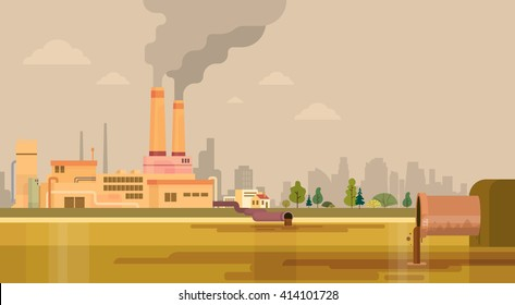 Nature Pollution Plant Pipe Dirty Waste Water Polluted Environment Flat Vector Illustration