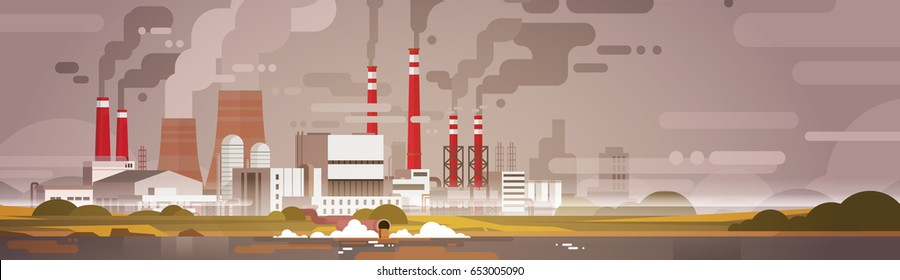 Nature Pollution Plant Pipe Dirty Waste Air And Water Polluted Environment Flat Vector Illustration