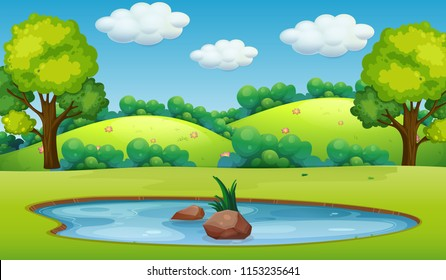 A nature pond landscape illustration