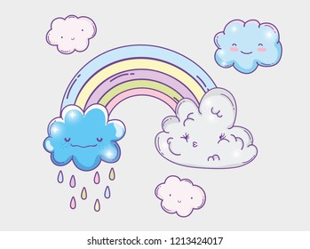 nature rainbow with kawaii fluffy clouds