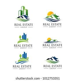Nature Real Estate Logo Pack. 6 Set Logo Design. Mega Set and Big Group,  Building and Construction Logo  Eps.10