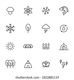 Nature related vector icon set. Well-crafted sign in thin line style with editable stroke. Vector symbols isolated on a white background. Simple pictograms.