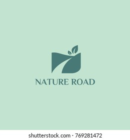 Nature road hill and landscape with leaves logo silhouette