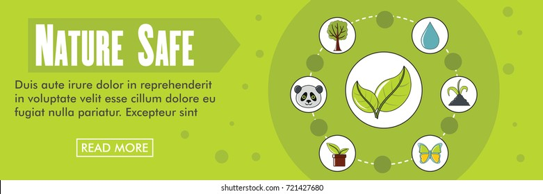 Nature safe ecology banner. Clean energy ecology vector illustration in flat style for web