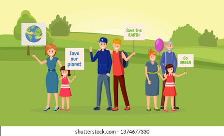 Nature saving protest flat vector illustration. Earth planet protection, eco conservation, environmental issues demonstration, meeting. People with slogans, banners, placards cartoon character