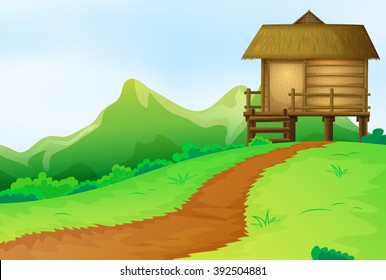 Nature scene with bungalow on the hill illustration