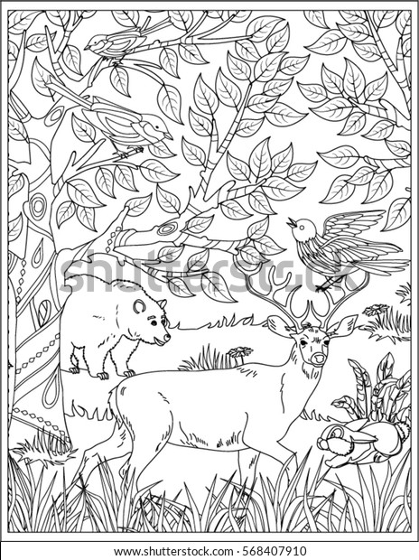 Nature Scene Coloring Page Stock Vector Royalty Free 568407910
