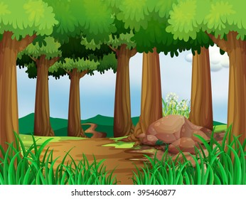 Nature scene with hiking track in the forest illustration