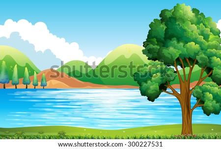 nature scene lake park stock vector royalty free 300227531