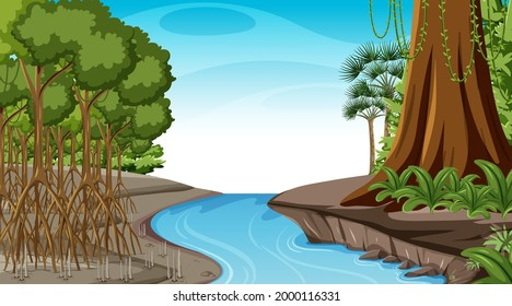 Nature scene with Mangrove forest at daytime in cartoon style illustration
