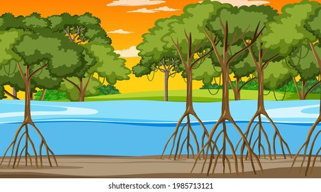 Nature scene with Mangrove forest at sunset time in cartoon style illustration