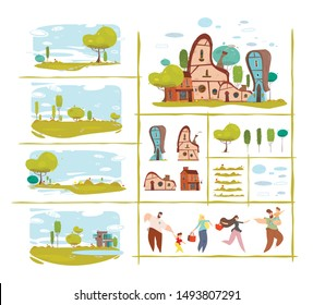 Nature Scene and Natural Elements Trendy Flat Set. Different Houses Collection. Adult People and Children Animated Characters DIY Kit. Cartoon Village or Countryside. Vector Craft Illustration
