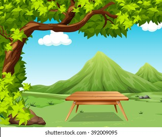 Nature scene with picnic table in the park illustration
