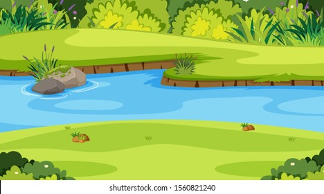 Nature scene with river in the park illustration