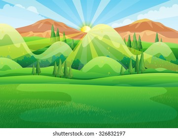 Nature scene with sunrise in the morning illustration