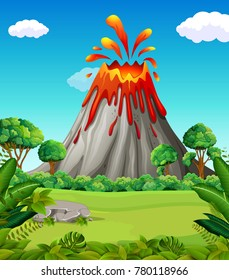 Nature scene of volcano eruption
