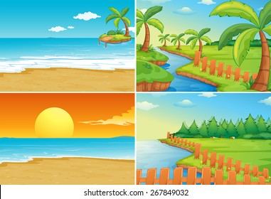 Nature scenes of beaches and river