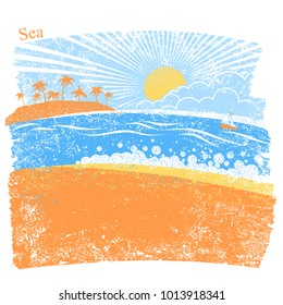 Nature sea background with palm island and blue sky.VEctor abstract seascape for text