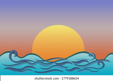Nature sea with fairy waves, sky, beautiful sunset wallpaper vector illustration