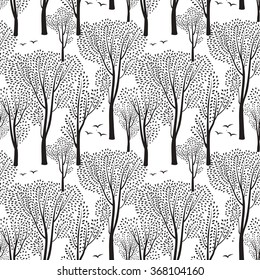 Nature seamless pattern. Forest tiled background. Trees and birds wildlife vector illustration.  Floral black and white wallpaper