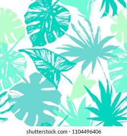 Nature seamless pattern. Hand drawn abstract tropical summer background: palm, monstera leaves in silhouette, line art, grunge, scribble textures. Vector tropic illustration in natural green colors