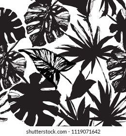 Nature seamless pattern. Hand drawn abstract tropical summer background: palm, monstera leaves in silhouette, line art, grunge, scribble textures. Vector tropic illustration in black and white colors