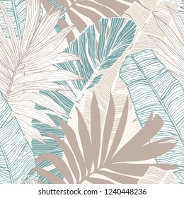 Nature seamless pattern. Hand drawn abstract tropical summer background : palm tree and banana leaves in silhouette, line art. Vector art illustration in pastel retro colors