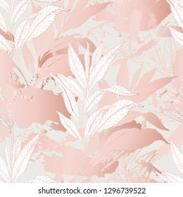 Nature seamless pattern. Hand drawn abstract floral background: line art leaves, grunge brush strokes with glossy gradient effect Vector art illustration in pastel gold rose pink color