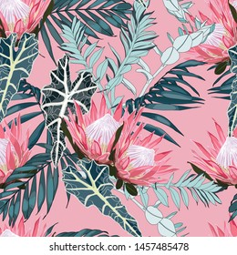 Nature seamless pattern. Hand drawn tropical summer background: exotic blue leaves and pink protea flowers. Pink background.