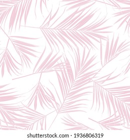 Nature seamless pattern. Hand drawn tropical summer background: pink white palm tree leaves, line art background.