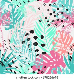 Nature seamless pattern. Hand drawn abstract tropical summer background: palm trees, monstera, fan palm leaves, squiggles, dots in circle. Vector art illustration in bright colors