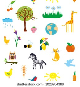 Nature seamless pattern with icons for flowers, animals, fruits and trees for kids. Vector graphic illustration