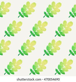 Nature seamless pattern with leaves. Vector illustration.