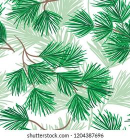 Nature seamless pattern. Spruce branch background. Textile hand drawn pattern