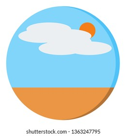 Nature With Simple Landscape With Sun, Cloud, Land Icon - Vector