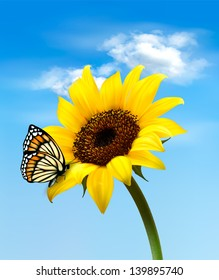 Nature summer sunflower flower with butterfly. Vector illustration.